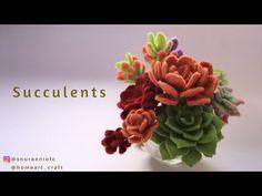 Felt Succulents - How to Make Felt Succulents - Tutorial Felt Flowers Dyi Flowers, Handmade Flowers, Felt Flowers, Fabric Flowers, Paper Flowers, Felt Diy, Felt Crafts, Felt Flower Tutorial, Bow Tutorial