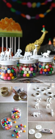 Substitute vegetables or fruits for the candy. circus party theme - paint small animal figures in party colors for table décor or favor toppers