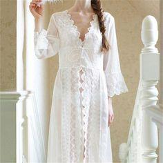 Brand Maxi Lace Robe Sexy Sleepwear Long Bathrobe Women Kimono Dressing Gown Nightgown Lingerie Camisola #Q14