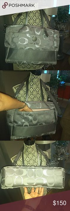 Coach F20425 diaper bag Grey Coach F20405 diaper bag travel bag satchel tote. It is in Perfect condition. Like new. Used once on a 5-day trip. Also includes changing pad. Coach Bags Baby Bags