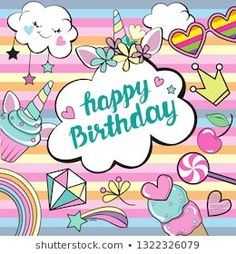 Happy Birthday template card with unicorn items and inscription Happy Birthday on a rainbow background Happy Birthday Rainbow, Happy 11th Birthday, Happy Birthday Template, Happy Birthday Wishes, Birthday Greetings, Happy Birthdays, Rainbow Background, Rainbow Dash, Cute Pictures