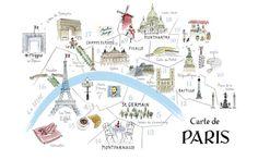 Carte de Paris by Alice Tait (lithographic print)