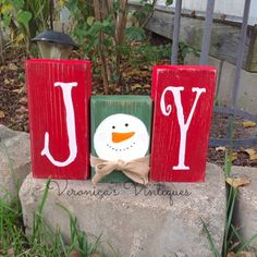 Christmas Joy Snowman Blocks