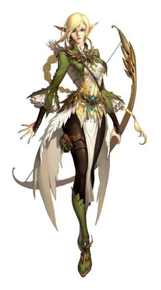 a female elf archer - character concept by OSUK2