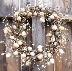 Easter Wreath  door wreath  pastel eggs  spring by laurelsbylaurie, $55.00
