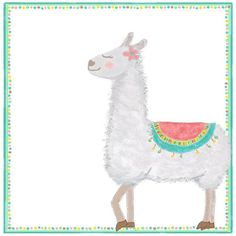 A girly llama prances on this folded note stationery. She has a pink flower to accent her eyes :) and multi colored blanket on her back. This colorfully bordered llama stationery is perfect for any girl who loves llamas. Kids Stationery, Personalized Stationery, How To Fold Notes, Thank You Notes, Cool Fonts, Kid Names, Card Sizes, Cute Designs, Color Show