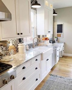 Um, hi.  Kitchen inspo much?!? This space by Jordan @house.becomes.home is one of my very favorite kitchens, and the world must know.  SWOON!  The crisp white cabinets, the beautiful tones of the floors and counters, those perfect barn lights....and don't even get me started on the backsplash.  I just love it all!  You guys go give Jordan @house.becomes.home and check out the other projects she's got going....you'll love it!! She's #onetofollow, for sure! 💫✨