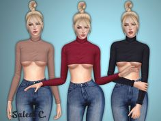 "salem-c: "" Matilda Top (TS4) • 10 colors • mesh by me DOWNLOAD •  Hair - Nightcrawler •  Jeans - Puresims •  Poses - iWiked and FlowerChamber """