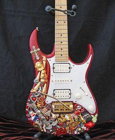 Graffiti Red Ibanez Electric Guitar Mosaic Jewelry Art Sculpture