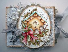Winter Birdhouse, Stampavie, Christmas card, Paperbag, Distress Ink
