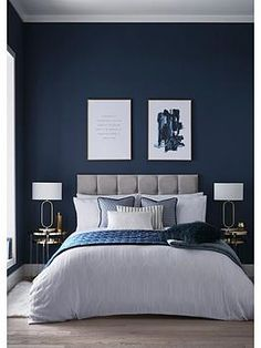Buy Tess Daly Exclusive To Next Quartz Duvet Cover and Pillowcase Set from the Next UK online shop - You'll drift to the land of dreams in no time with the soft comfort of this Duvet cover and pillo - Dark Blue Bedrooms, Blue Master Bedroom, Blue Rooms, Blue Feature Wall Bedroom, Navy Bedrooms, Midnight Blue Bedroom, Master Bedroom Color Ideas, Dark Blue Bedroom Walls, Bedroom Colour Ideas For Couples
