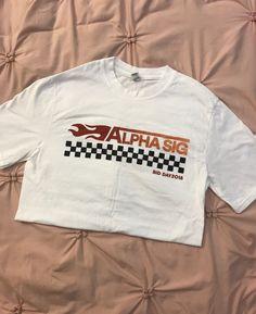 Alpha Sigma Alpha Bid Day NASCAR shirt, in a size small, never worn, in perfect condition! Sorority Rush Shirts, Sorority Recruitment Themes, Bid Day Shirts, Sorority Sisters, Nascar Shirts, Bid Day Themes, Sorority Big Little, Alpha Sigma Alpha, Greek Life