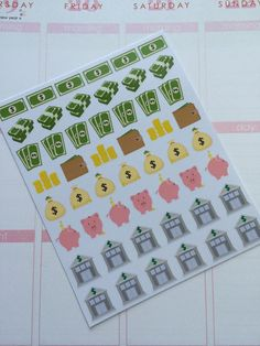 Bank, Payday, Savings Stickers for Erin Condren Life Planner, Plum Paper Planner, Filofax