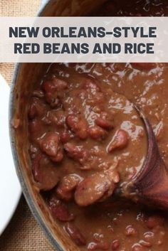 New Orleans–Style Red Beans and Rice Making red beans and rice from scratch is easy; all it takes is beans, vegetables, some cured pork and sausage, and patience. - New Orleans–Style Red Beans and Rice Louisiana Recipes, Cajun Recipes, Crockpot Recipes, Slow Cooker Recipes, Cooking Recipes, Soul Food Recipes, Cajun And Creole Recipes, Rice Recipes, Soul Food Meals