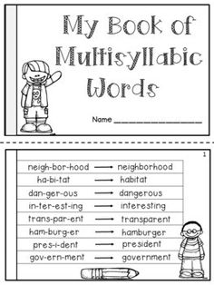This FREE product contains a student booklet designed to help the students read multi-syllabic words. Each word is split in syllables to teach the students how to distinguish the syllables within a word. Students will learn how long words break apart into smaller Reading Fluency, Reading Intervention, Reading Strategies, Teaching Reading, Teaching Tips, Guided Reading, First Grade Reading, Student Reading, Reading Groups