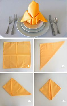 Napkin Folding: Thanksgiving - Front Range Event Rental For Thanksgivings, a well-dressed table setting is always important in order to satisfy your participants other than consider the delicious food and drinks. Fancy Napkin Folding, Christmas Napkin Folding, Christmas Tree Napkins, Merry Christmas, Folding Paper Napkins, How To Fold Napkins, Thanksgiving Napkin Folds, Diy Thanksgiving, Napkin Origami