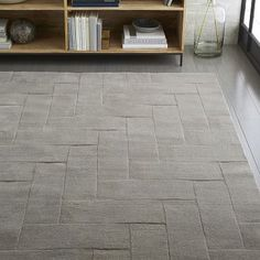 Solid Angled Basketweave Wool Rug - Platinum