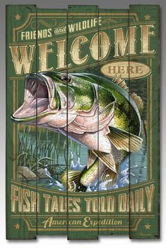 Largemouth Bass Wooden Cabin Sign For $38.99
