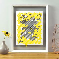 Are you interested in our bee honeycomb papercut? With our queen bee artwork you need look no further. Bee Honeycomb, Honeycomb Pattern, Dead Bees, Yellow Paper, White Paper, Traditional Frames, Bee Art, White Picture, Floating Frame