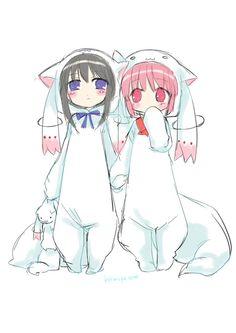 Homura Akemi and Kaname Madoka cosplaying as Kyubey.