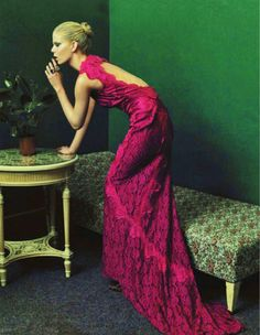 Seriously...if only I had somewhere to wear something like this!    walkingthruafog:    Fuchsia lace