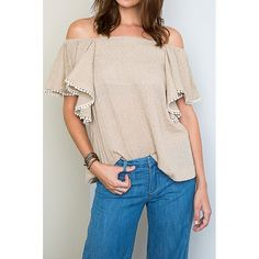 "(S, M, L) Off Shoulder Bohemian Chic Taupe Top (L) ❤️ BUNDLES  ❤️ DISCOUNTS ❌ NO TRADES  ❌ NO Low balling!   •NWT•  * MEASUREMENTS: - Length: 21.75' Approximately (From Chest) - Bust: 40"" Approximately  * MATERIAL: 100% Rayon Tops"