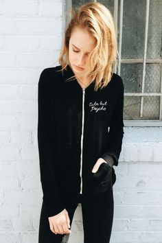Brandy ♥ Melville | Kassidy Cute But Psycho Embroidery Hoodie - Graphics