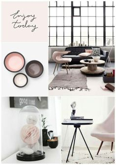 Soft Pink and Black moods. For my living room with dark olive couch. Small Living Rooms, My Living Room, Home And Living, Home Staging, Interior Inspiration, Room Inspiration, Moodboard Inspiration, Moodboard Interior Design, Studio Interior