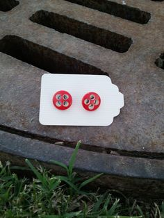 Unique Red  Button Earings by kraftychix on Etsy, $2.75