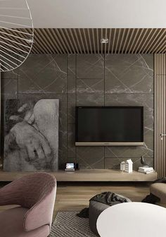The key to achieve a successful home decor is to use a variety of complimentary tones, mix materials, and play with patterns. Burgundy Living Room, Living Room Grey, Home Living Room, Modern Tv Cabinet, Modern Tv Room, Modern Living, Tv Unit Interior Design, Tv Unit Furniture, Furniture Design