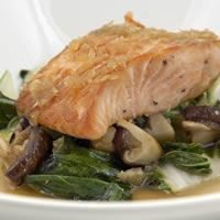 Grilled Salmon with Bok Choy and Lemon Ginger Dressing - Loch Fyne