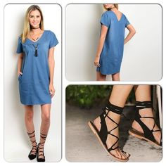 Denim and Comfortable Dress This adorable denim dress features rounded neckline with braided accent on front panel. Front pockets and stretch material. 76% cotton, 22% Rayon, 2% Spandex ❌Shoe pic to style dress only, n/a❌(This closet does not trade or use PayPal) Loverriche Dresses Midi