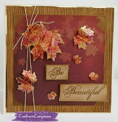 7x7 card made using Crafter's Companion Die'sire Mixed Media Maple Leaves die. Designed by Marie Jones #crafterscompanion