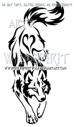 Yin Yang Set Descending Tribal Wolf Design by WildSpiritWolf.deviantart.com on @deviantART