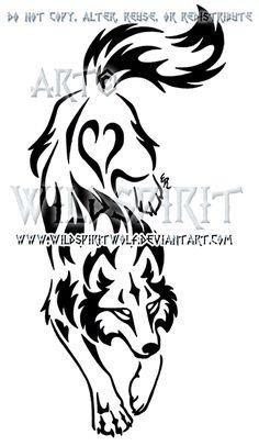 Yin Yang Set Descending Tribal Wolf Design by WildSpiritWolf.deviantart.com on @deviantART