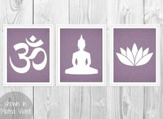 Yoga Print Set - Ohm Symbol, Lotus Flower, Sitting Buddha Yoga Pose -  Set of 3 Purple Linen Art Prints - Purple Yoga Silhouettes Decor on Etsy, $26.00