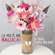 La mulți ani! Îți dorim multă sănătate, fericire și tot binele din lume! Cu drag, echipa NailShop! 💕💐💕 Glass Vase, Flowers, Google Search, News, Home Decor, Decoration Home, Room Decor, Florals, Flower