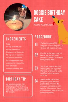 Awesome doggie birthday cake recipe. An dit is human grade so you can enjoy it too! :) If you wish to gift your dog something useful on his birthday - look for a suitable nHV remedy to help keep him healthier for longer.