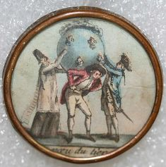 ca 1780 French button with printed image on paper, under glass, set in metal.