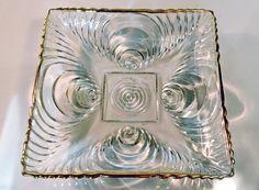 Ornate Gold Trim Glass Jewelry Tray, Decorative Dish, Vintage Glassware