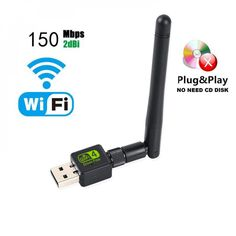 2.4G 150M 2dBi WiFi Antenna WLAN Network Card USB WiFi Receiver MT 7601 Chip 2.4GHz 150Mbps Wireless USB WiFi Adapter Integrated