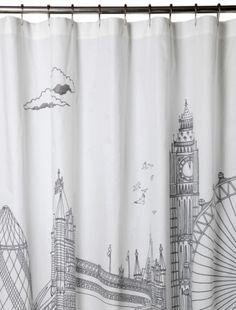 london skyline shower curtain, bliss living