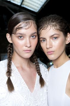 Bringing back 90's flair with zig zag parting, braids and the gelled wave! Look by Eugene Souleiman for @dknyprgirl #SS15 #hair