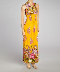 Loving this Earth Song Orange Floral Halter Maxi Dress - Women on #zulily! #zulilyfinds