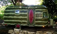 Watermelon. Painted vintage camper | Tiny trailer - travel caravan - glamping <O>