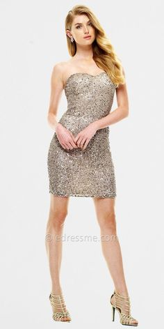 Silver Sequined Short Dresses by Scala
