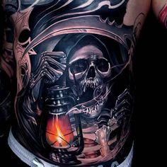Grim Reaper Rib Tattoo
