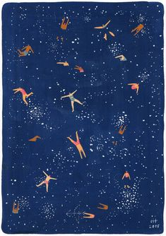 Sky Swim - Art print of original painting by Helo Birdie - stars - night - astronomy - people - whimsical - cute - - Art print of original gouache painting made by Helo Birdie Sky Swim Museum quality art print on thi - Art And Illustration, Pattern Illustration, Inspiration Art, Art Inspo, Stars Night, Sky Night, Illustrator, Guache, Gouache Painting