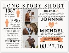 Long Story Short - Save the Date Postcards - East Six Design - Tangerine - Orange : Front
