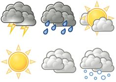 Weather Symbols For Kids Printables. could turn this into a quiet book page Weather Symbols For Kids, Weather For Kids, Preschool Weather, Weather Unit, Weather Activities, Toddler Activities, Weather Icons, Weather Seasons, Rainy Day Crafts